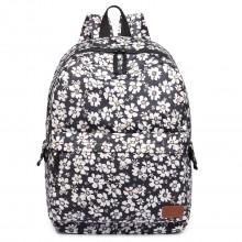 E6609 - Miss Lulu MatteOilclothFlower Pattern Backpack Black