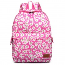 E6609-miss lulu matte oilcloth flower pattern backpack pink
