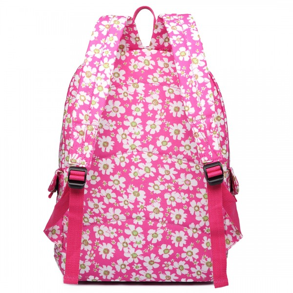 E6609 - Miss Lulu Matte Oilcloth Flower Pattern Backpack Pink