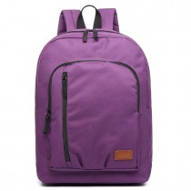 E6612-Kono Casual Laptop Backpack School Rucksack Purple