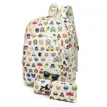 E6629-1 - Canvas Emoticon Backpack Pencil Case and Money Pouch Set Beige