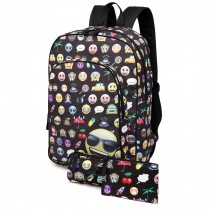 E6629-1 - Canvas Emoticon Backpack Pencil Case and Money Pouch Set Black