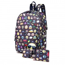 E6629-1 - Canvas Emoticon Backpack Pencil Case and Money Pouch Set Grey