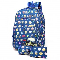 E6629-1 - Canvas Emoticon Backpack Pencil Case and Money Pouch Set Navy