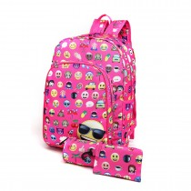 E6629-1 - Canvas Emoticon Backpack Pencil Case and Money Pouch Set Pink
