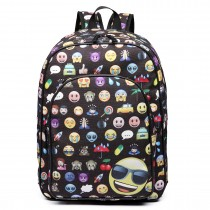 E6629 - Emoticon Canvas Backpack  School Travel Laptop Rucksack Black