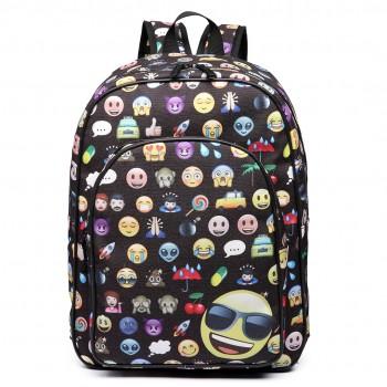 E6629 - Emoticon Canvas Backpack  School Travel Laptop Rucksack Black