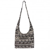 E6630- Miss Lulu Ladies Cotton Canvas Hippie Hobo Shouder Bags black
