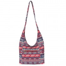 E6630- Miss Lulu Ladies Cotton Canvas Hippie Hobo Shoulder Bags Red