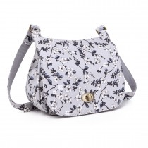 E6640-16F - Miss Lulu Matte Oilcloth Flower Print Saddle Bag Grey