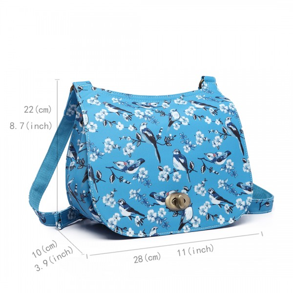E6640-16J - Miss Lulu Matte Oilcloth Bird Print Saddle Bag Blue