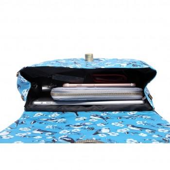 E6640-16J - Miss Lulu Matte Oilcloth Bird Print Saddle Bag Blue