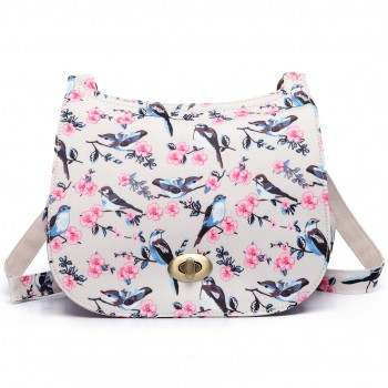 E6640-16J - Miss Lulu Matte Oilcloth Bird Print Saddle Bag Beige