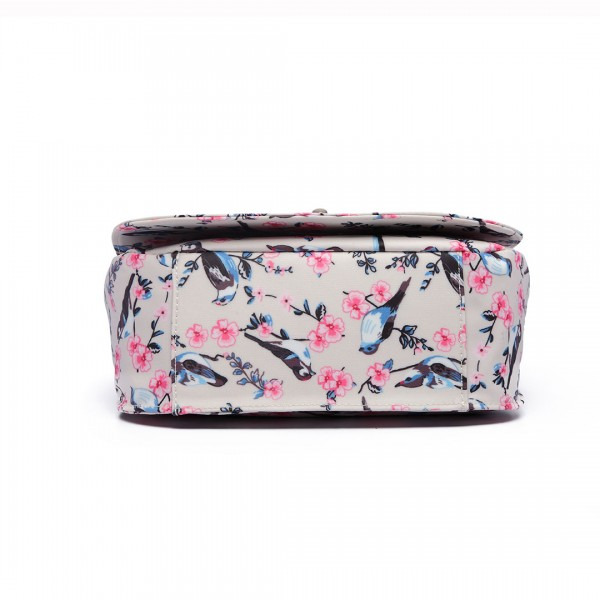 E6640-16J - Miss Lulu Matte Oilcloth Bird Print Saddle Bag Beige