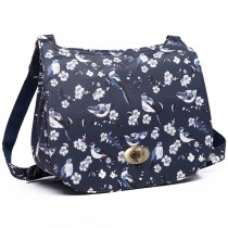 E6640-16J - Miss Lulu Matte Oilcloth Bird Print Saddle Bag Navy