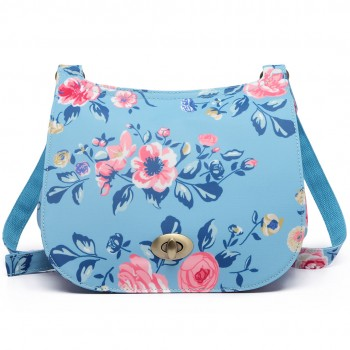E6640-17F - Miss Lulu Matte Oilcloth Flower Print Saddle Bag Blue