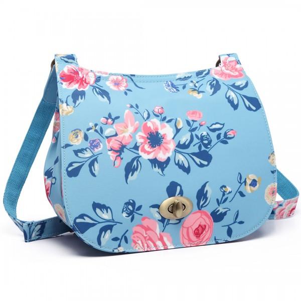 E6640-17F - Miss Lulu Matte Oilcloth Flower Print Saddle Bag Blue