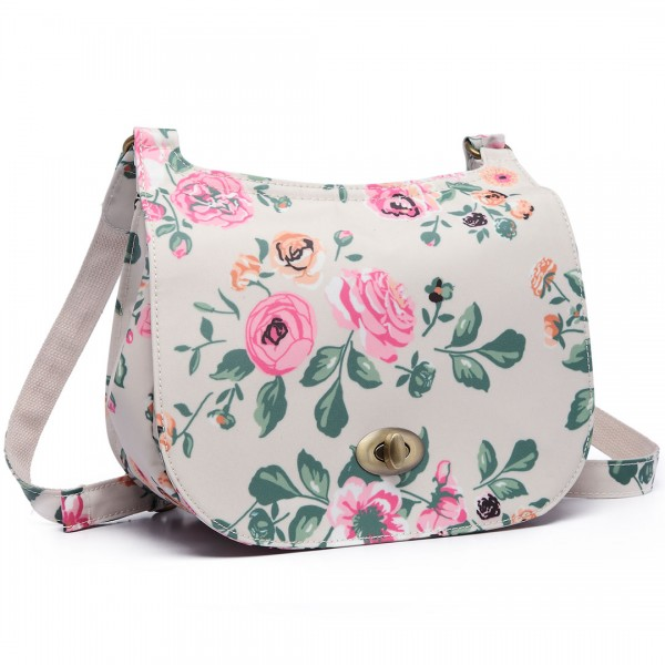 E6640-17F - Miss Lulu Matte Oilcloth Flower Print Saddle Bag Beige