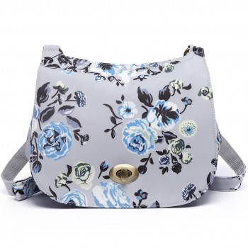 E6640-17F - Miss Lulu Matte Oilcloth Flower Print Saddle Bag Grey