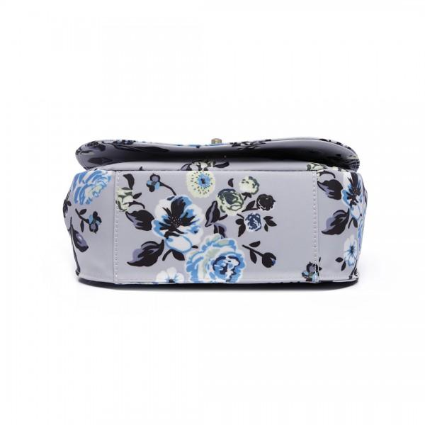 E6640-17F - Miss Lulu Matte Oilcloth Flower Print Saddle Bag Grey