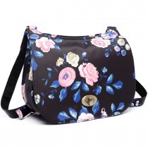 E6640-17F - Miss Lulu Matte Oilcloth Flower Print Saddle Bag Midnight Blue