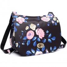E6640-17F - Miss Lulu Matte Oilcloth Flower Print Saddle Bag Midnight Blue