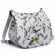 E6640-16J - Miss Lulu Matte Oilcloth Bird Print Saddle Bag Grey