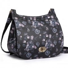 E6640-16ROSE - Miss Lulu Matte Oilcloth Flower Saddle Bag Black
