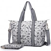 E6641-16F - Miss Lulu Matte Oilcloth Foldaway Overnight Bag Flower Print