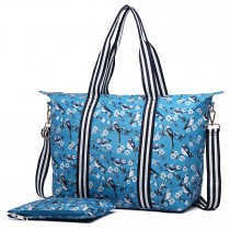E6641-16J - Miss Lulu Matte Oilcloth Foldaway Overnight Bag Bird Print Blue