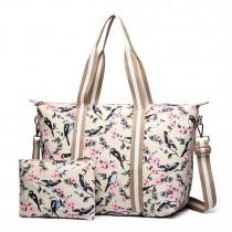 E6641-16J - Miss Lulu Matte Oilcloth Foldaway Overnight Bag Bird Print Beige