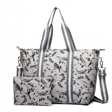 E6641-16J - Miss Lulu Matte Oilcloth Foldaway Overnight Bag Bird Print Grey