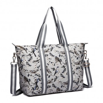E6641-16J - Miss Lulu Matte Oilcloth Foldaway Overnight Bag Bird Print Grey