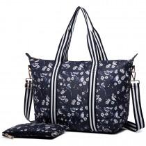 E6641-16J - Miss Lulu Matte Oilcloth Foldaway Overnight Bag Bird Print Navy