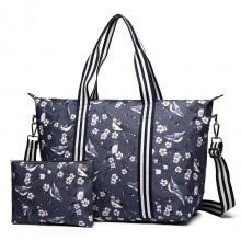 E6641-16J - Miss Lulu Matte Wachstuch Foldaway Overnight Tasche Vogel Print Navy Blue
