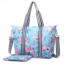 E6641-17F - Miss Lulu Matte Oilcloth Foldaway Overnight Bag Flower Print Blue