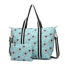 E6641-UN Miss Lulu Matte Oilcloth Plegable Bolsa de noche Estampado Unicornio Azul