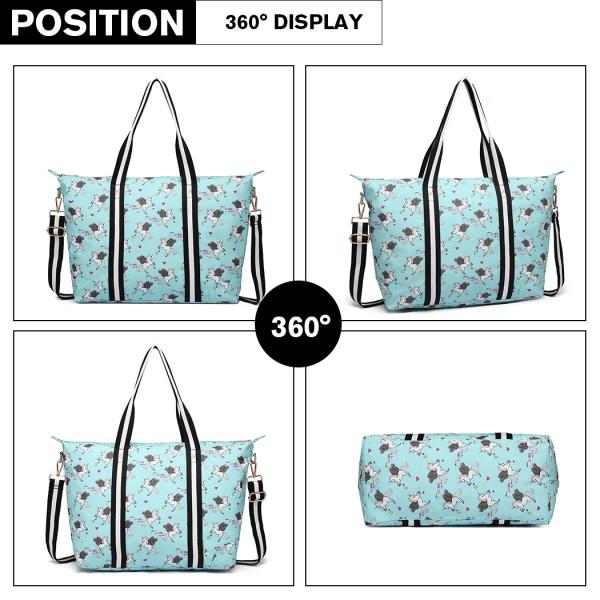 E6641 UN - Miss Lulu Matte Oilcloth Foldaway Overnight Bag Unicorn Print - Blue