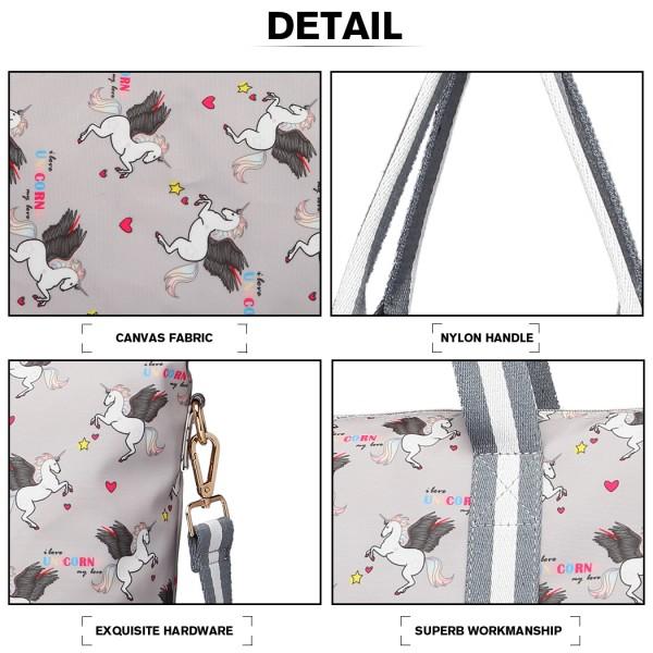 E6641 UN - Miss Lulu Matte Oilcloth Foldaway Overnight Bag Unicorn Print - Grey