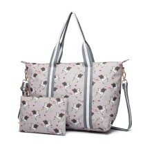 E6641 UN- Miss Lulu Matte Oilcloth Foldeaway Overnight Bag Unicorn Print - Grey