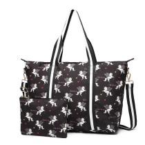 E6641-UN Miss Lulu Matte Oilcloth Plegable Bolsa de noche Estampado Unicornio Negro