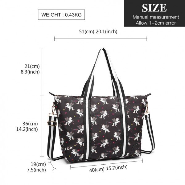 E6641 UN - Miss Lulu Matte Oilcloth Foldaway Overnight Bag Unicorn Print - Black