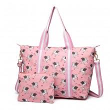 E6641-UN Sac de voyage pliable en toile cirée mat Miss Lulu, licorne rose