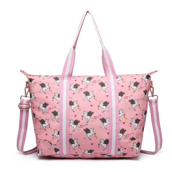 E6641 UN - Miss Lulu Matte Oilcloth Foldaway Overnight Bag Unicorn Print - Pink