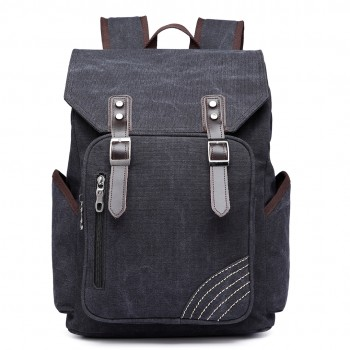 E6644- Kono Vintage Canvas Backpack School / Casual / Outdoor Rucksack black