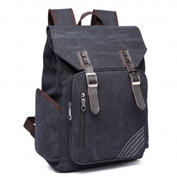 E6644- Vintage Canvas Backpack School / Casual / Outdoor Rucksack black