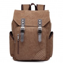E6644 - Kono Vintage Canvas Backpack School / Casual / Outdoor Rucksack  brown