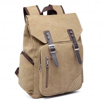 E6644 - Kono Vintage Canvas Backpack School / Casual / Outdoor Rucksack khaki