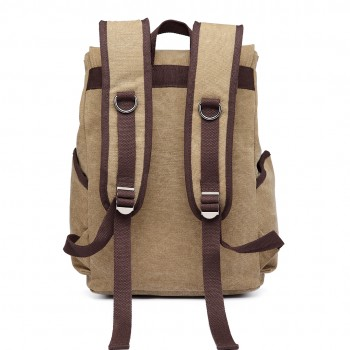 E6644 - Vintage Canvas Backpack School / Casual / Outdoor Rucksack khaki