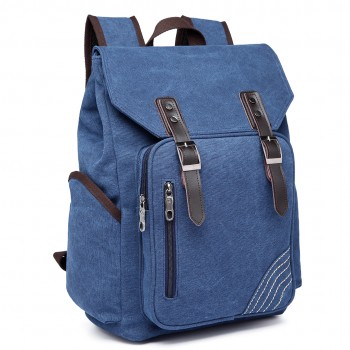 E6644 - Vintage Canvas Backpack School / Casual / Outdoor Rucksack navy